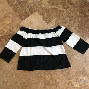Zara off the shoulder black and white blouse